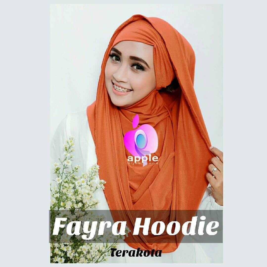 apple hijab jilbab fayra hoodie orange