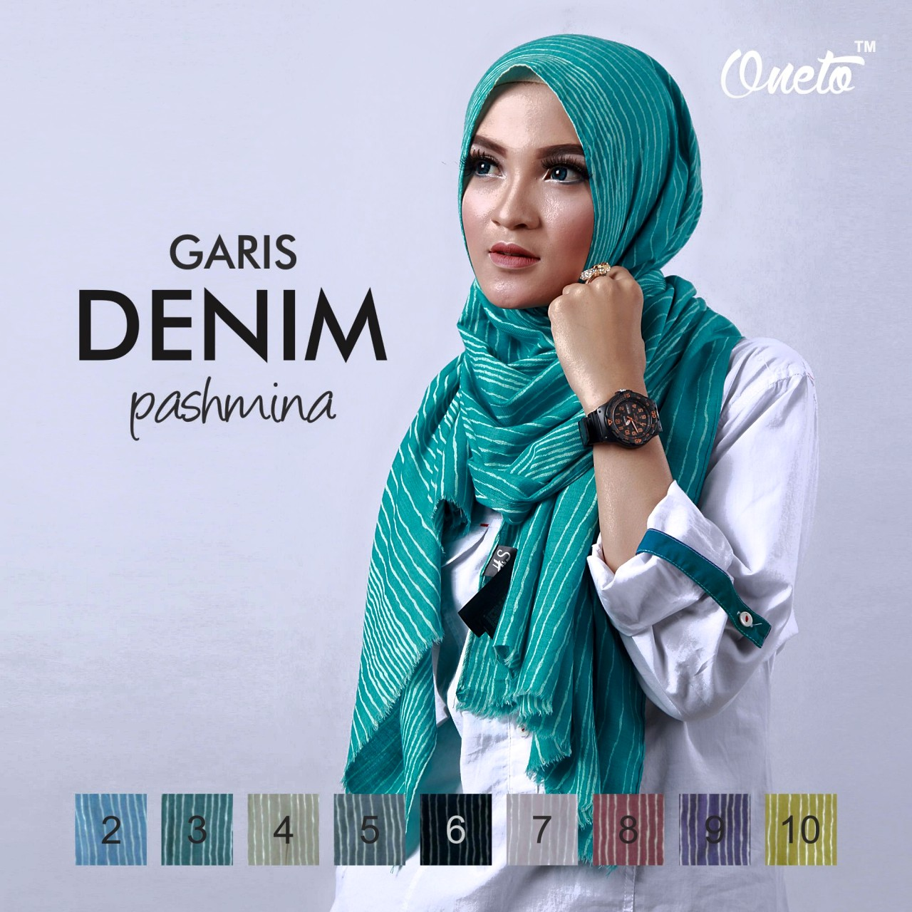 oneto garis denim pasmina