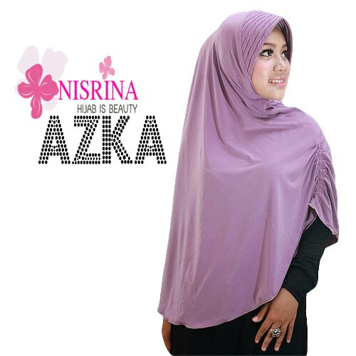 nisrina jilbab bergo azka dusty purple
