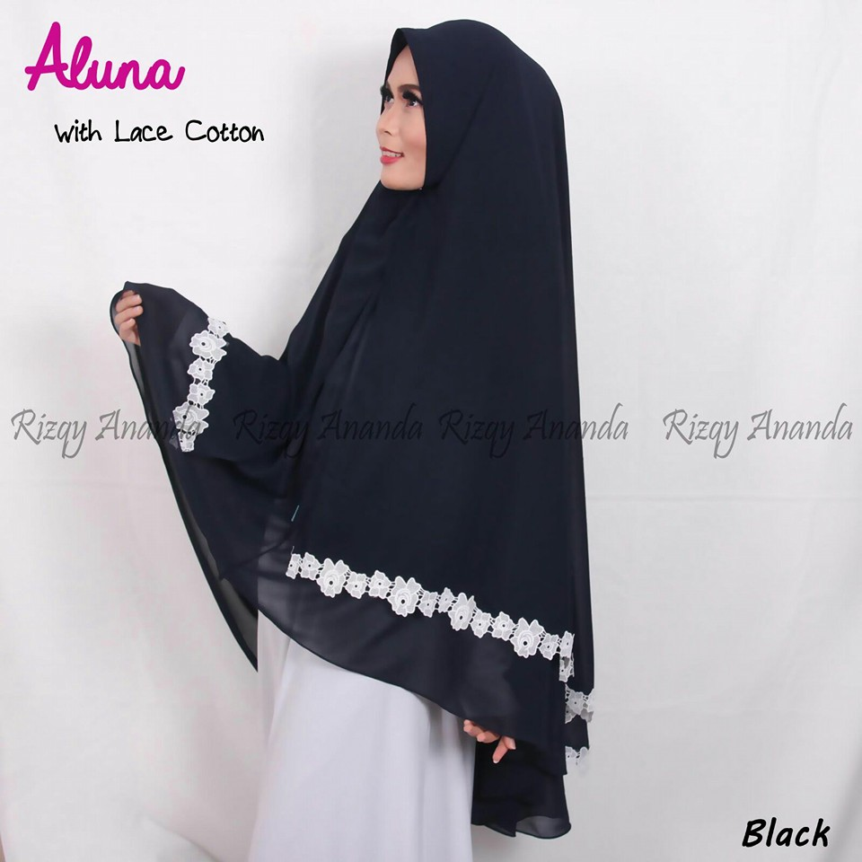 rizqy ananda aluna lace cotton black