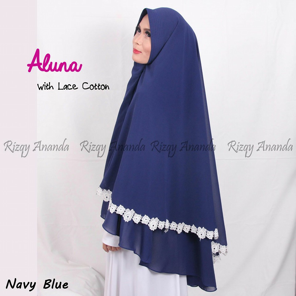 rizqy ananda aluna lace cotton navy blue