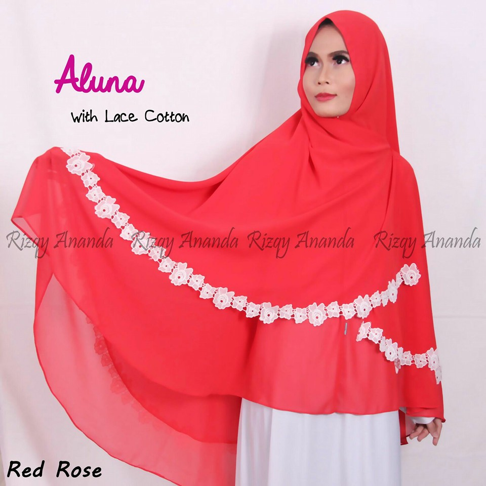 rizqy ananda aluna lace cotton red rose