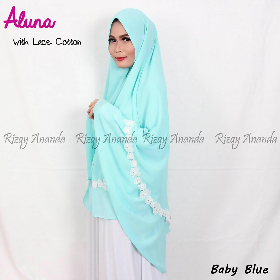 rizqy ananda khimar aluna lace baby blue