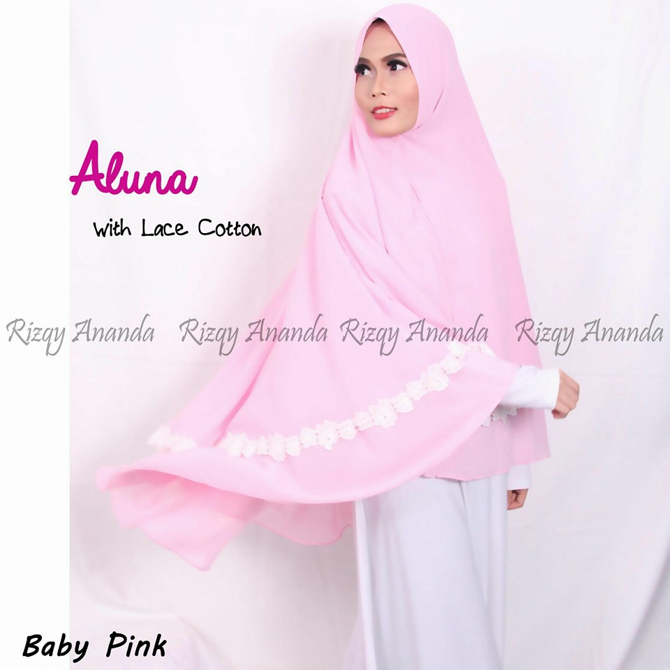 rizqy ananda khimar aluna lace cotton baby pink