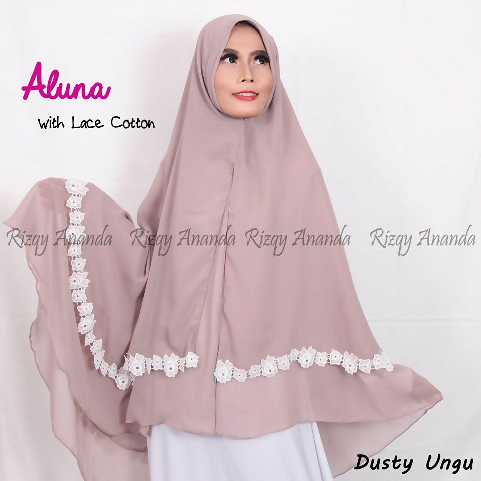 rizqy ananda khimar aluna lace cotton dusty ungu