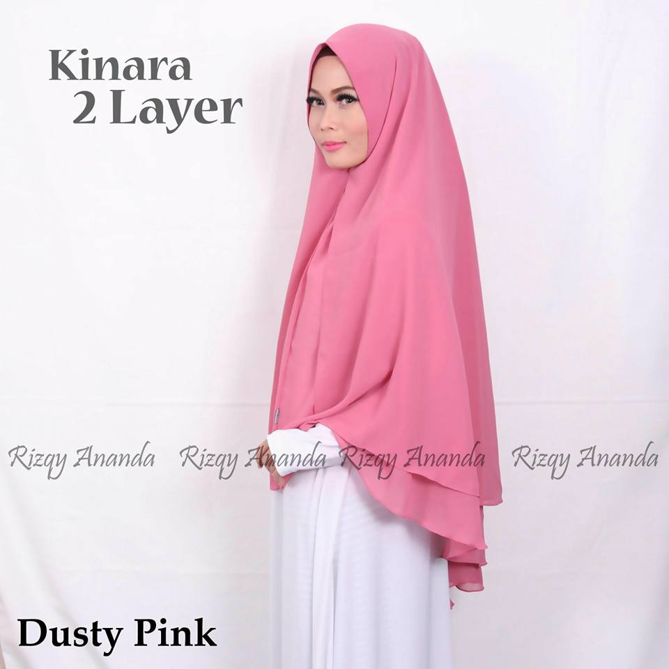 rizqy ananda khimar kinara 2 layer dusty pink