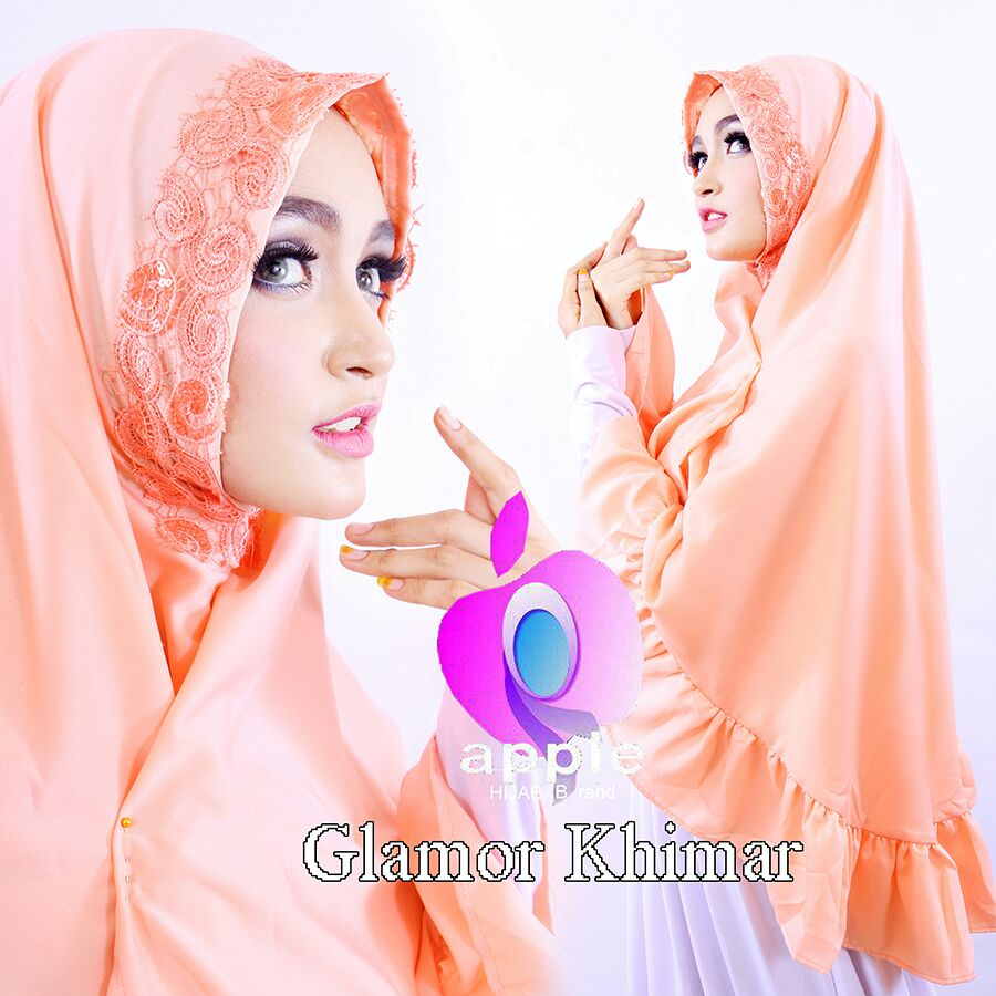 apple hijab glamor khimar peach