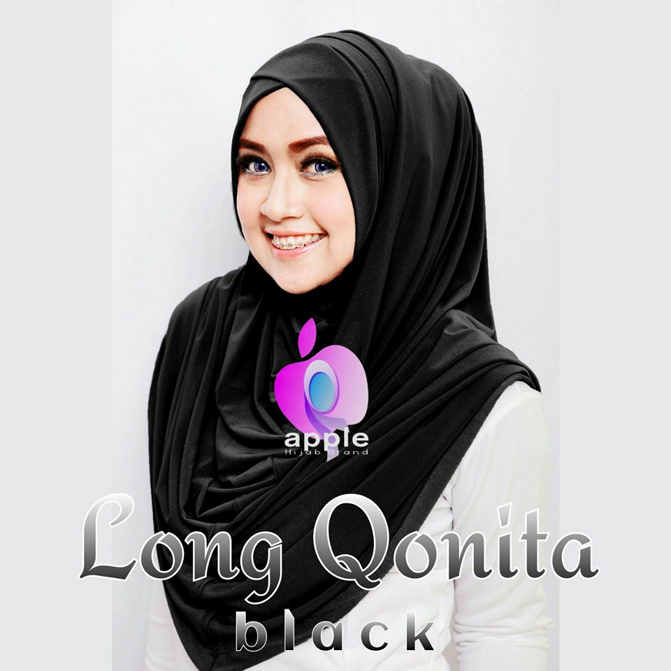 apple hijab long qonita black