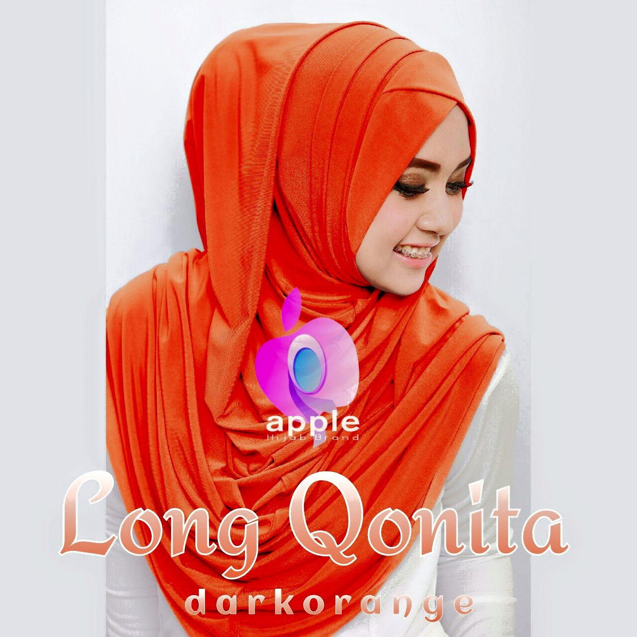 apple hijab long qonita darkorange