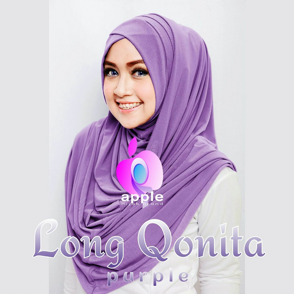 apple hijab long qonita dusty purple