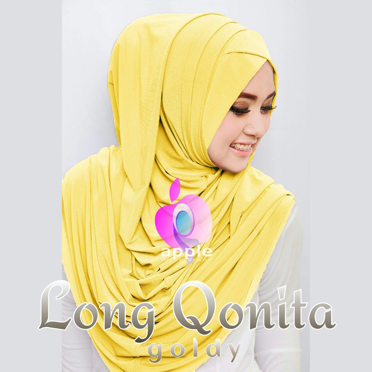 apple hijab long qonita goldy