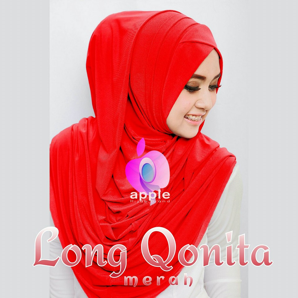 apple hijab long qonita merah