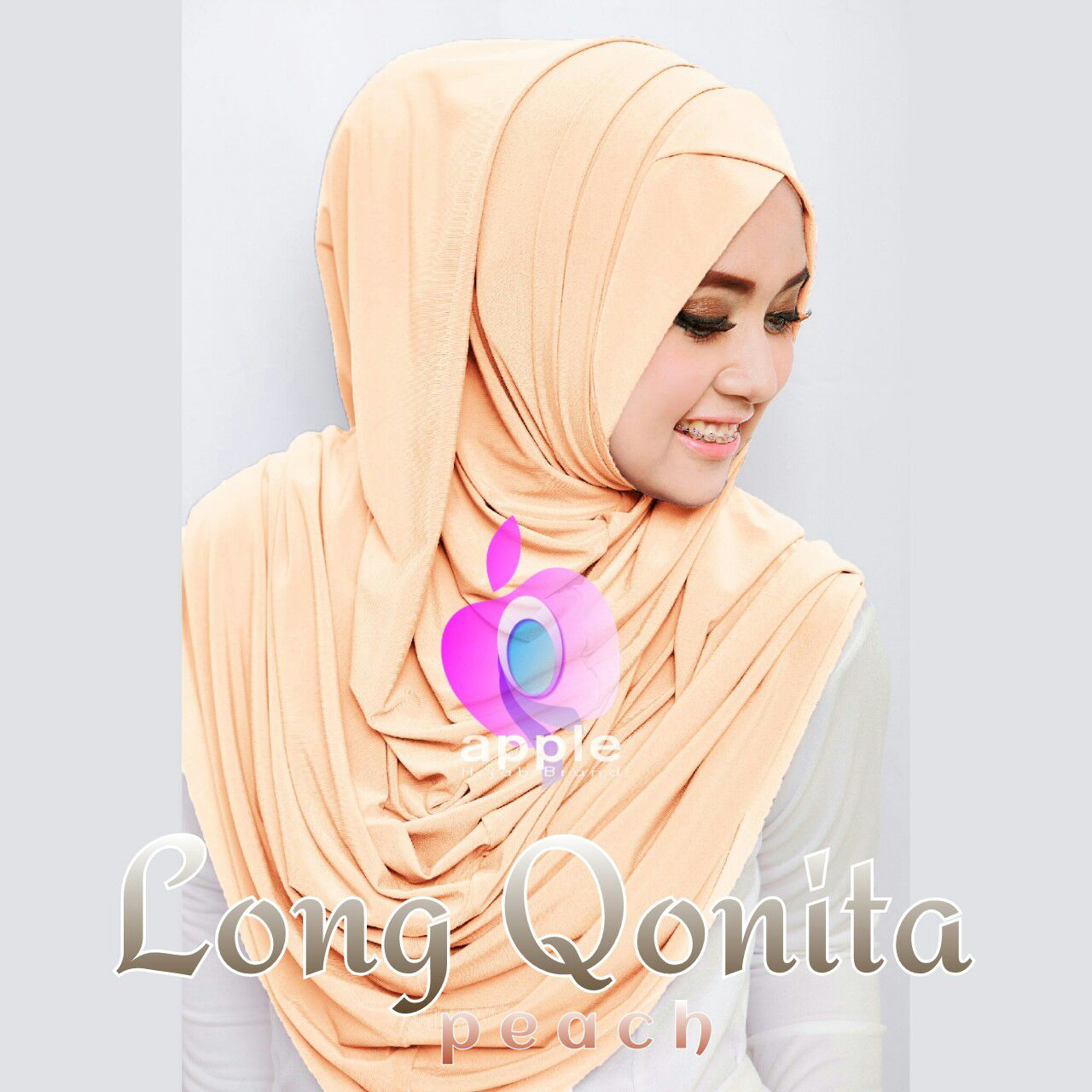 apple hijab long qonita peach