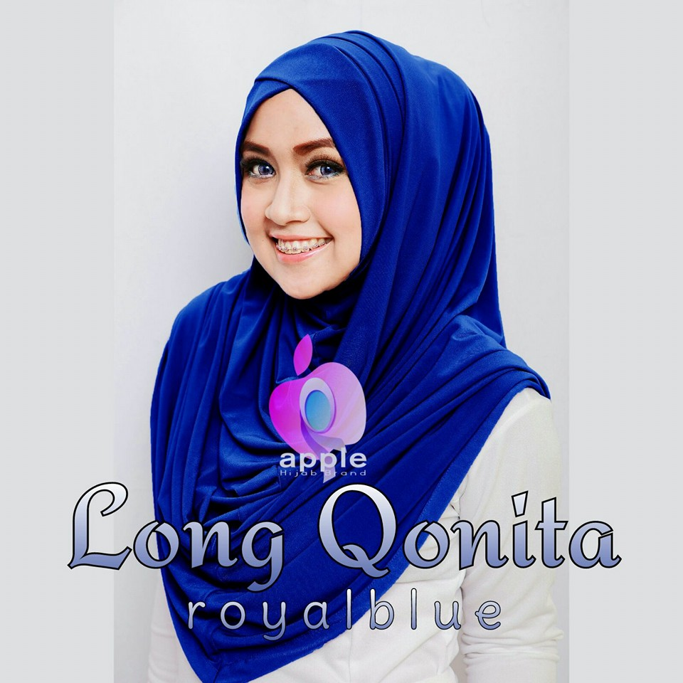 apple hijab long qonita royal blue