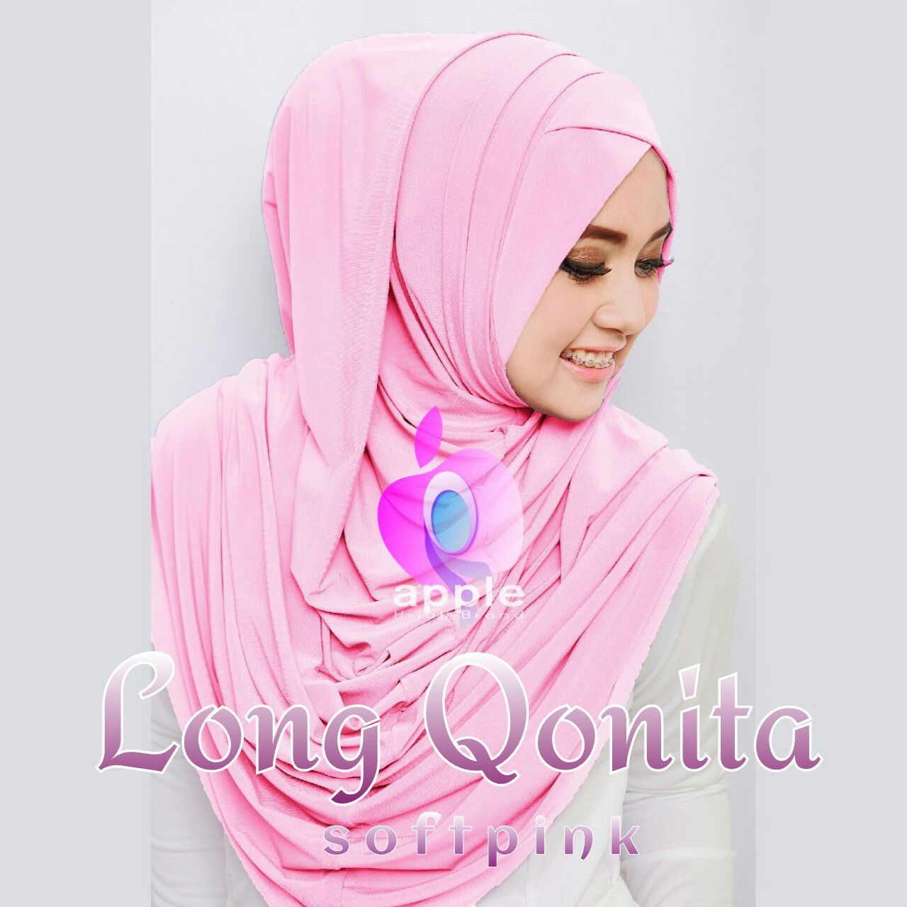apple hijab long qonita softb pink