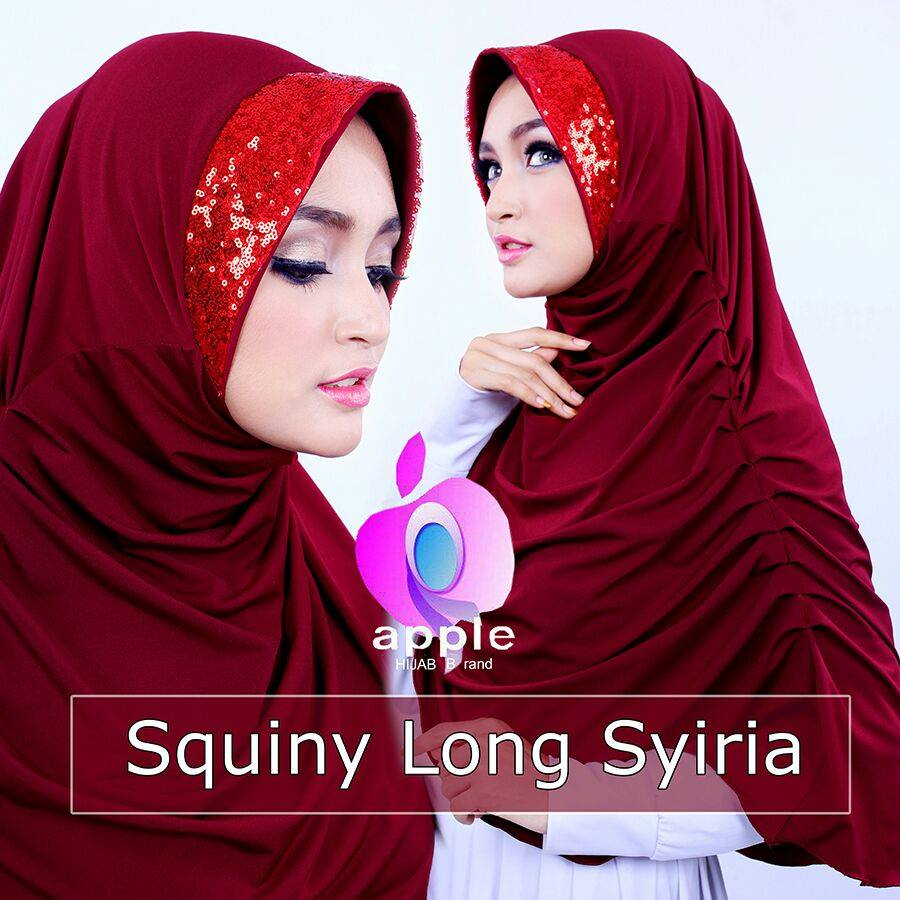apple hijab squiny long siria marun