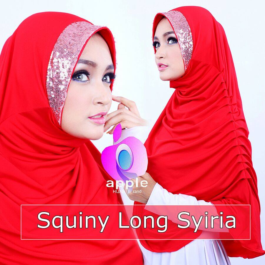 apple hijab squiny long siria merah