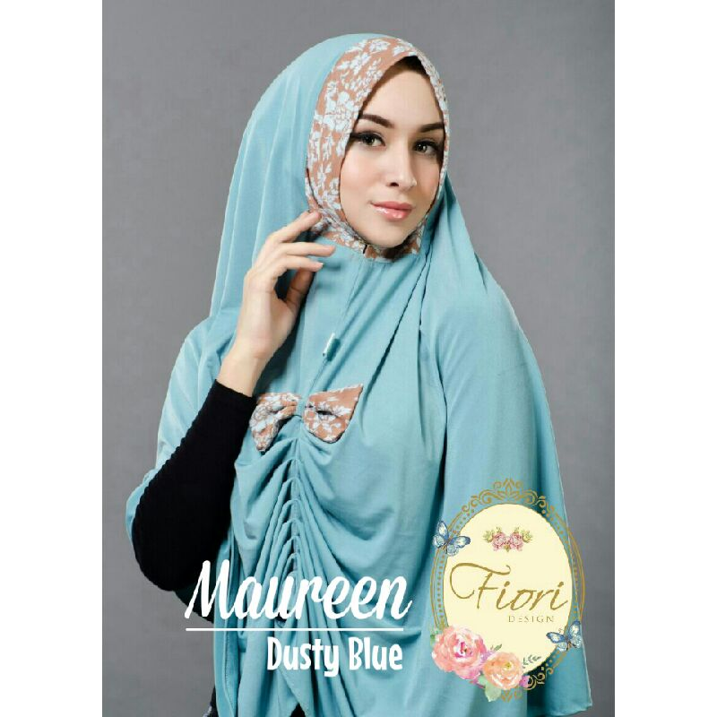 fiori jilbab maureen dusty blue