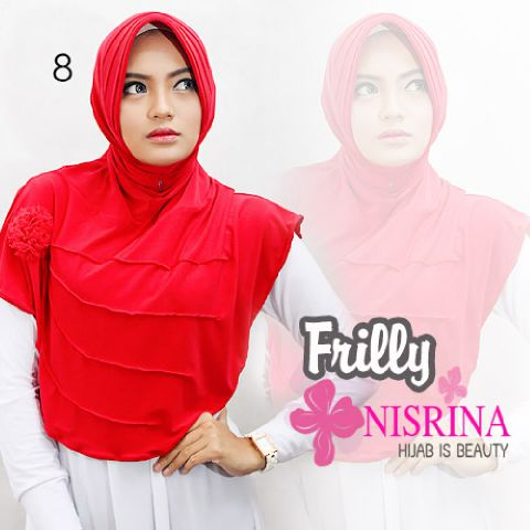 nisrina jilbab frilly red