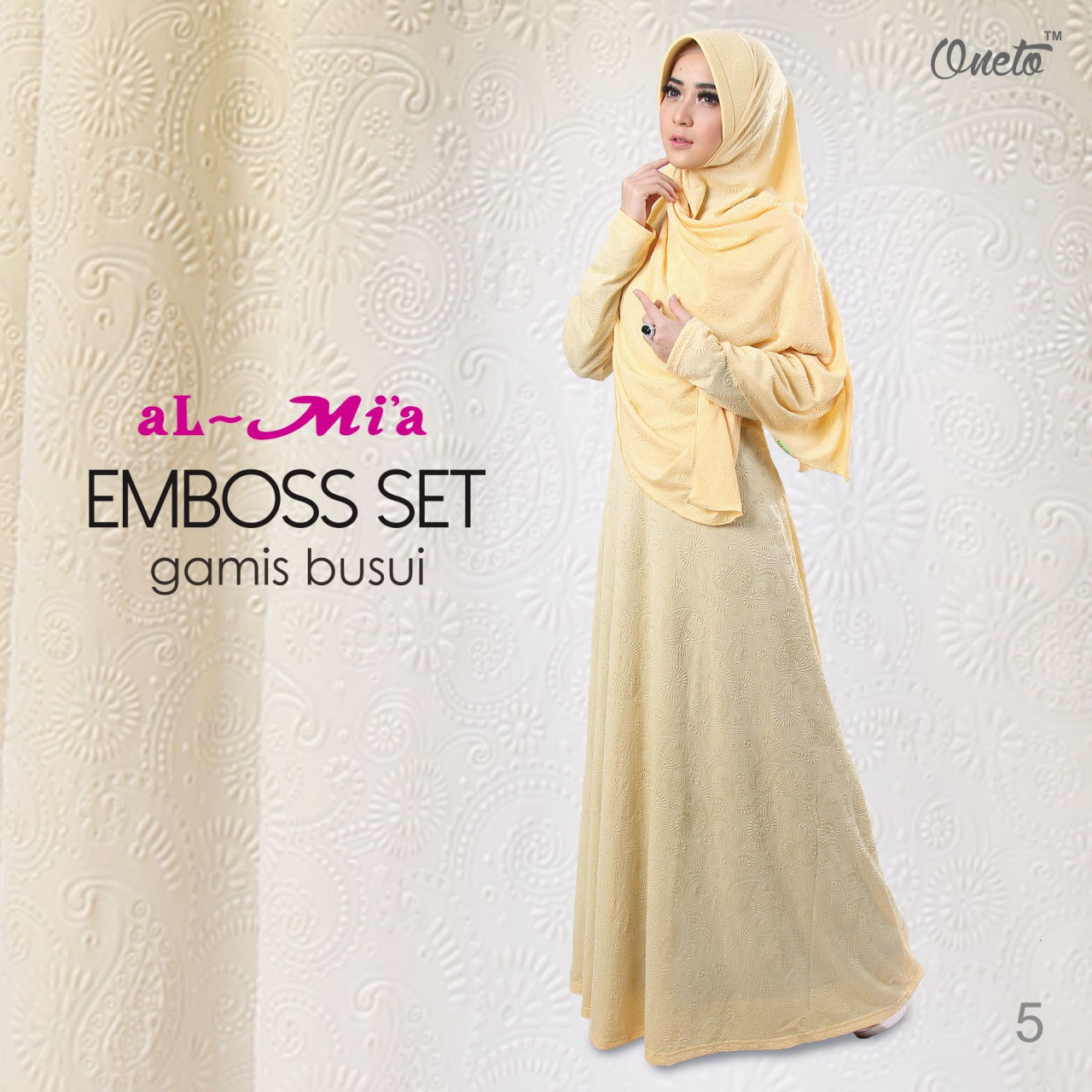 oneto gamis almia embos set yellow