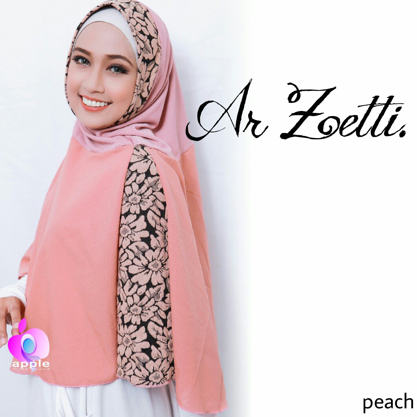 apple hijab jilbab ar zoetti peach