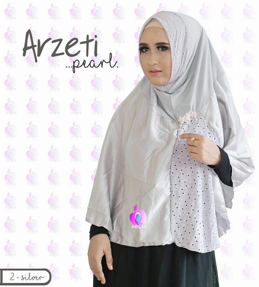 Arzeti Pearl Premium by Apple Hijab silver