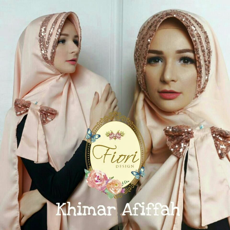 Khimar Afifah by Fiori Design peach
