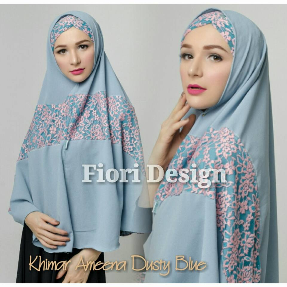 Khimar Ameena by Fiori dusty blue
