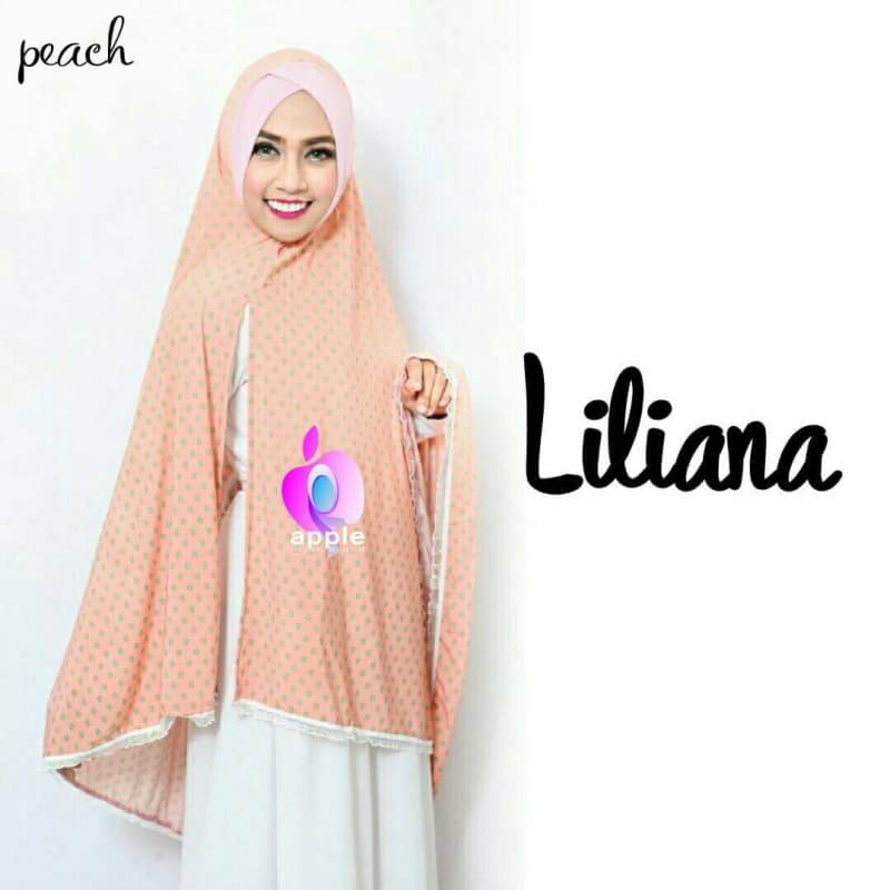 Liliana Khimar Syar'i by Apple Hijab peach