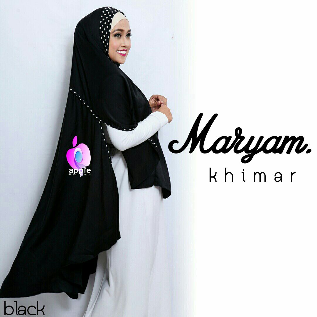 apple hijab khimar maryam hitam