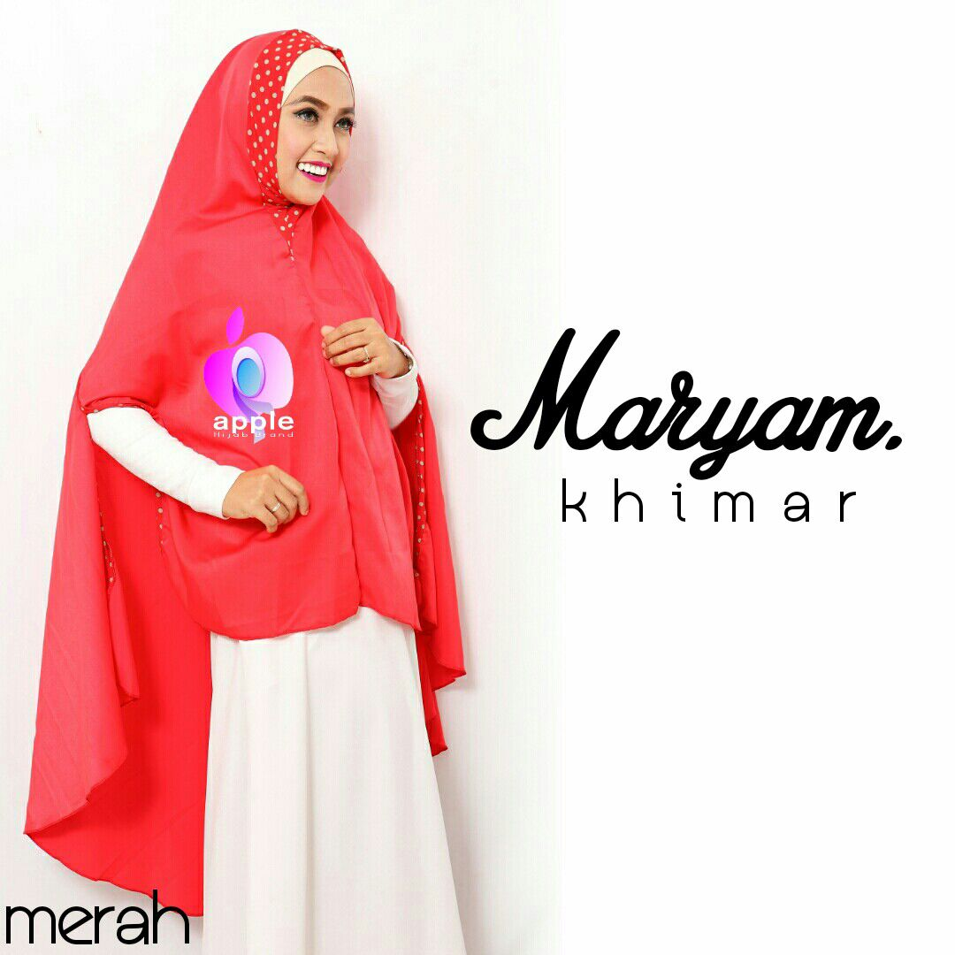 apple hijab khimar maryam merah