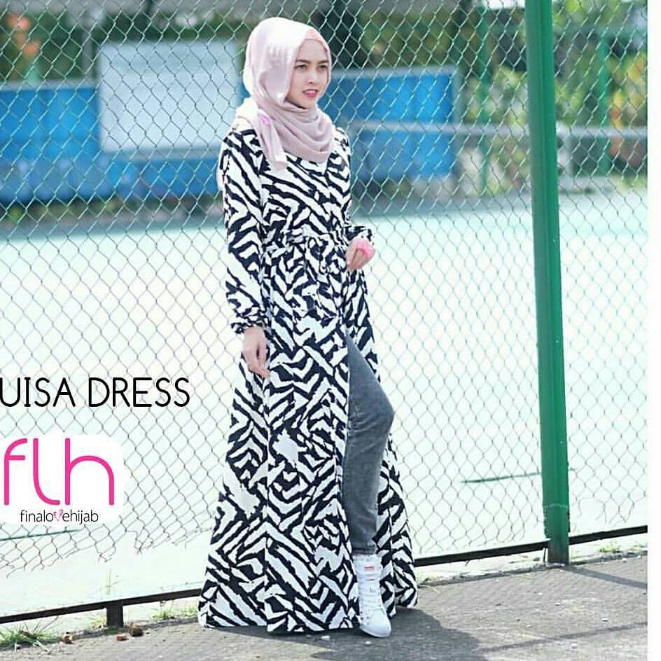 louisa dress & long cardi hitam