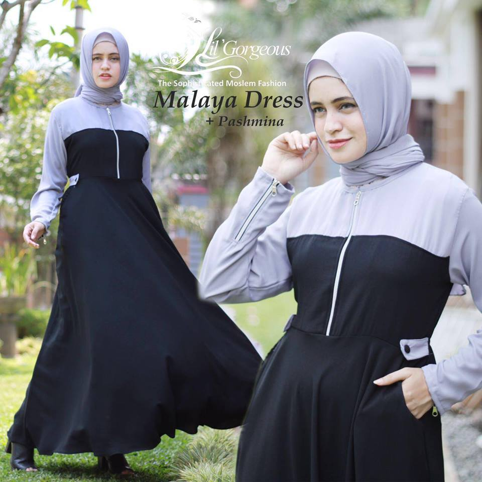 malaya dress by lil georgious hitam abu