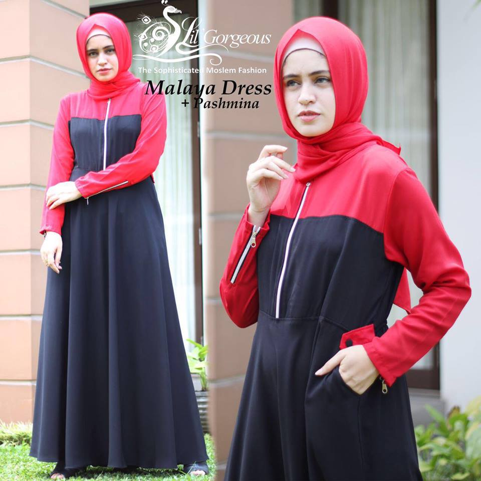 malaya dress by lil georgious hitam merah