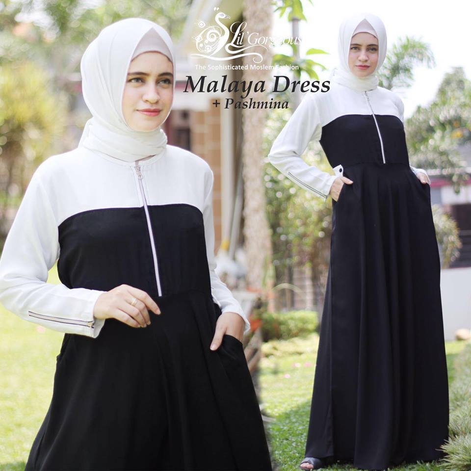 malaya dress by lil georgious hitam putih