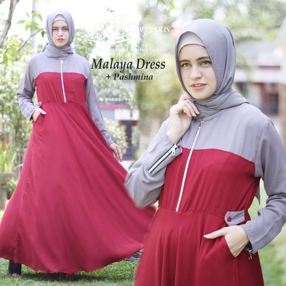 malaya dress by lil georgious merah abu