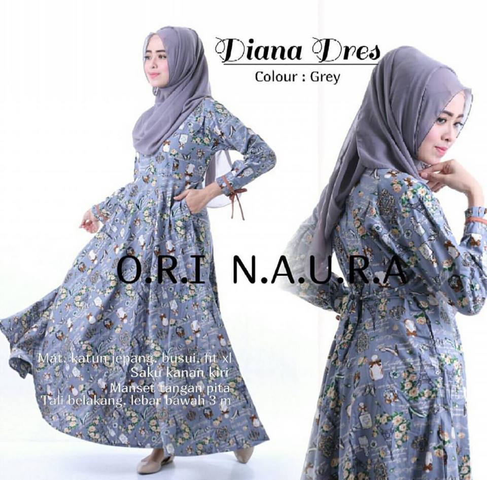 diana dress ori naura grey