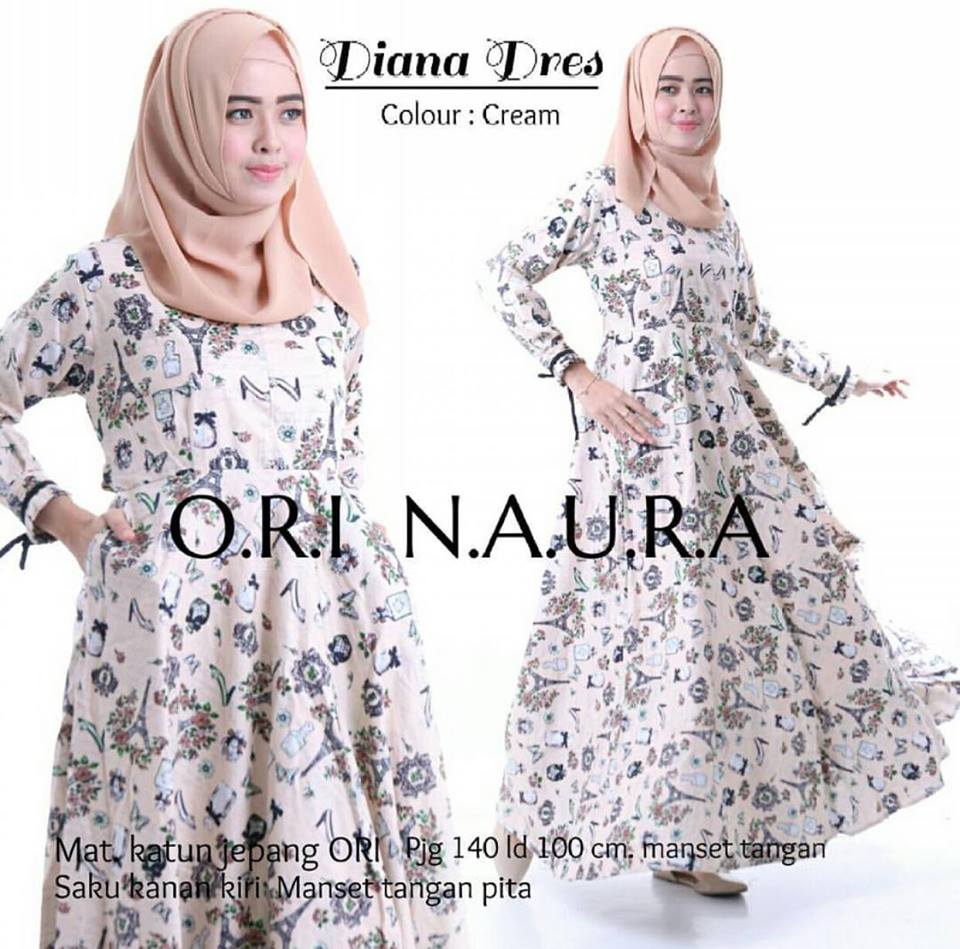 diana dress ori naura krem