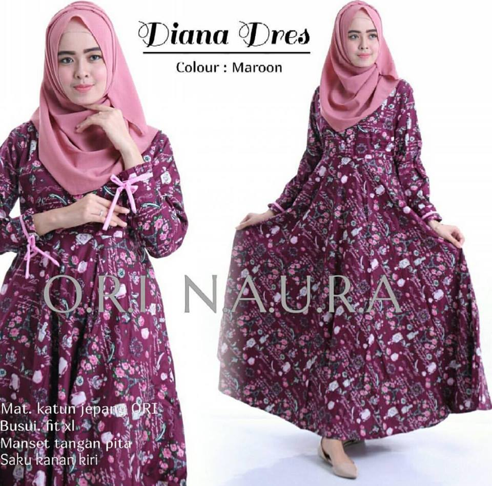 diana dress ori naura maroon