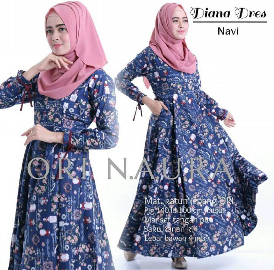 diana dress ori naura navy