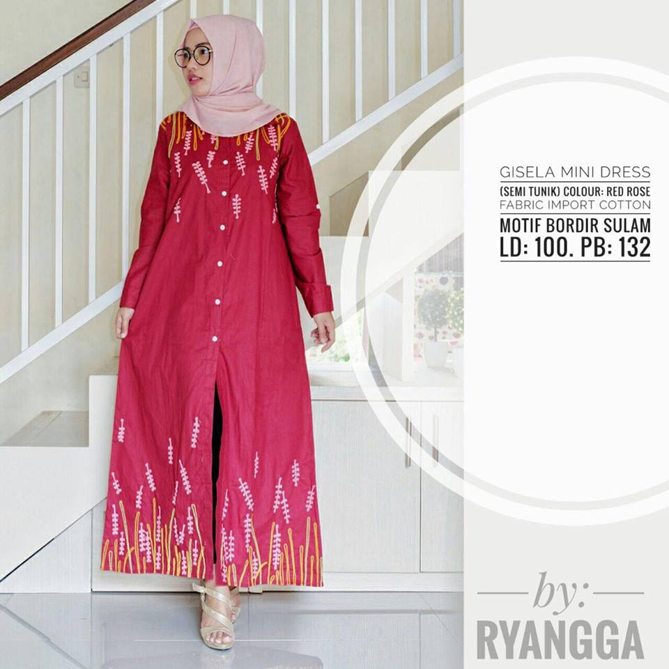 Gisela mini Dress by Ryangga red rose