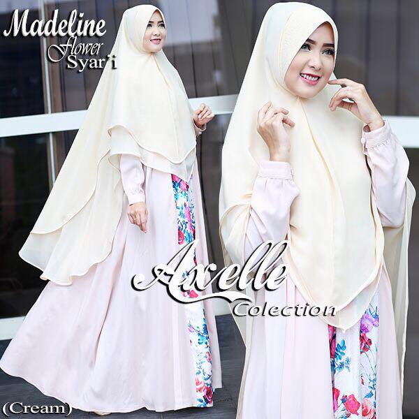 Madeline Flower syar'i by Anebelle collection putih tulang