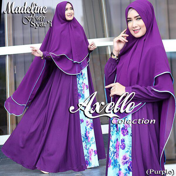 Madeline Flower syar'i by Anebelle collection ungu