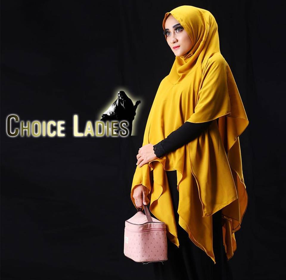 khimar sutera laser by choice ladies kuning