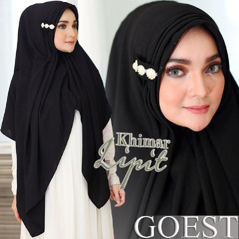 Khimar Lipit By Goest black