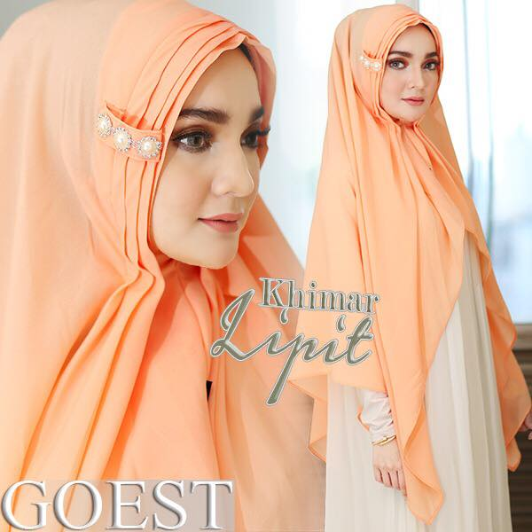 Khimar Lipit By Goest peach