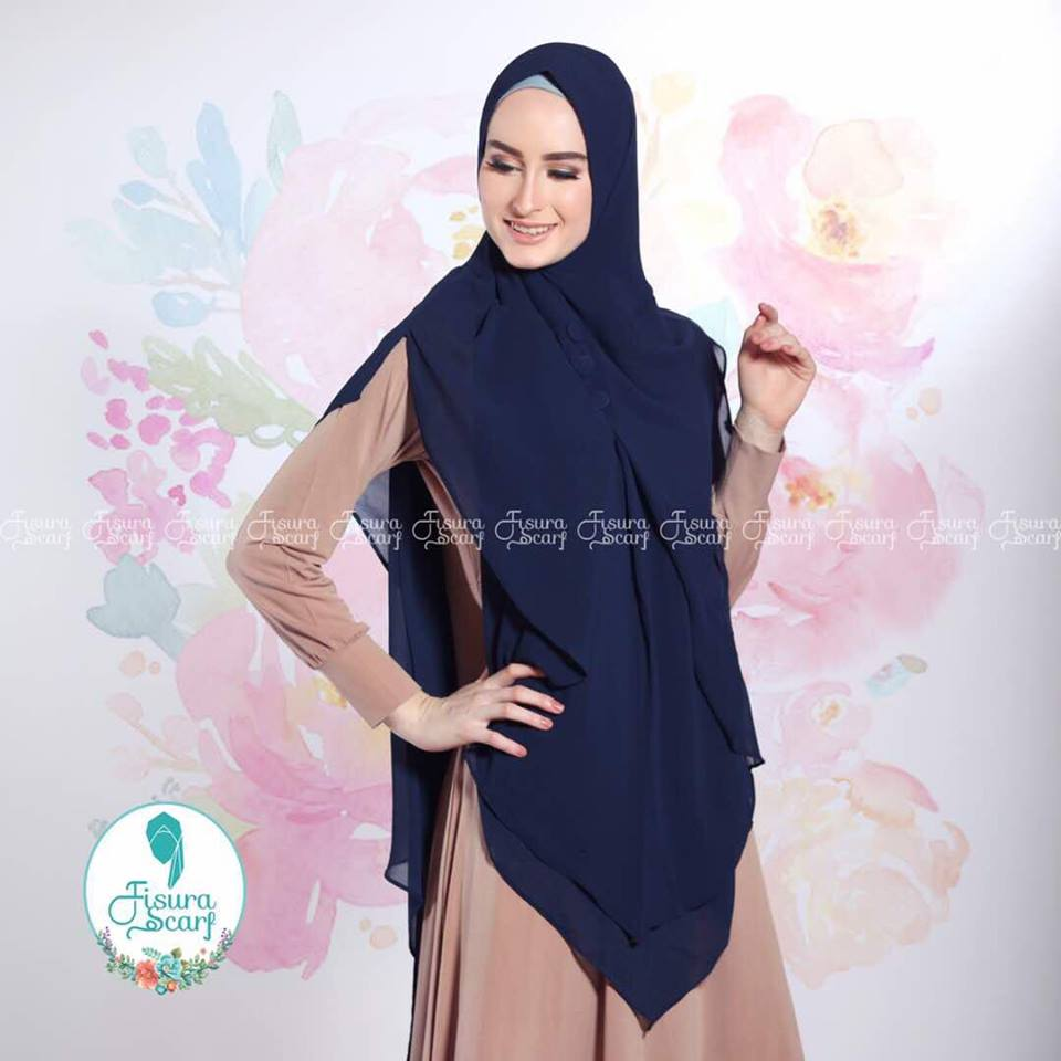 New Khimar Alona By Fisura Scarf biru tua