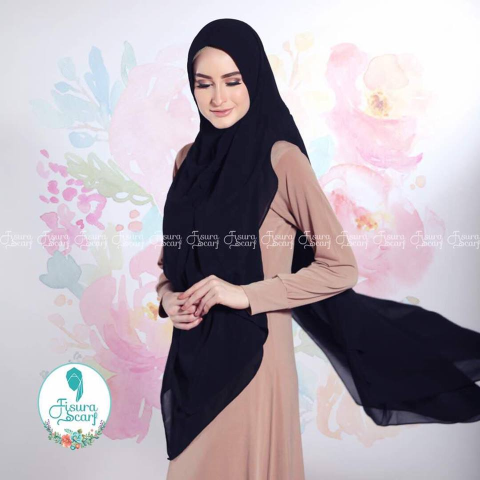 New Khimar Alona By Fisura Scarf hitam