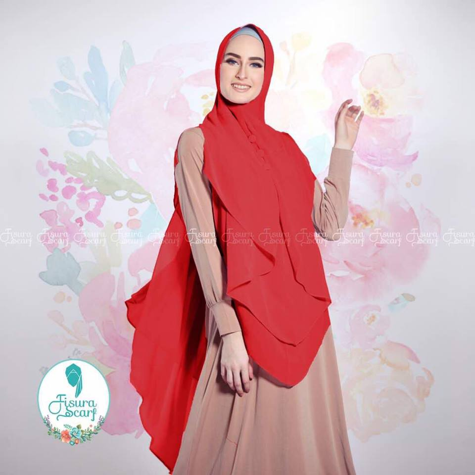 New Khimar Alona By Fisura Scarf merah 2
