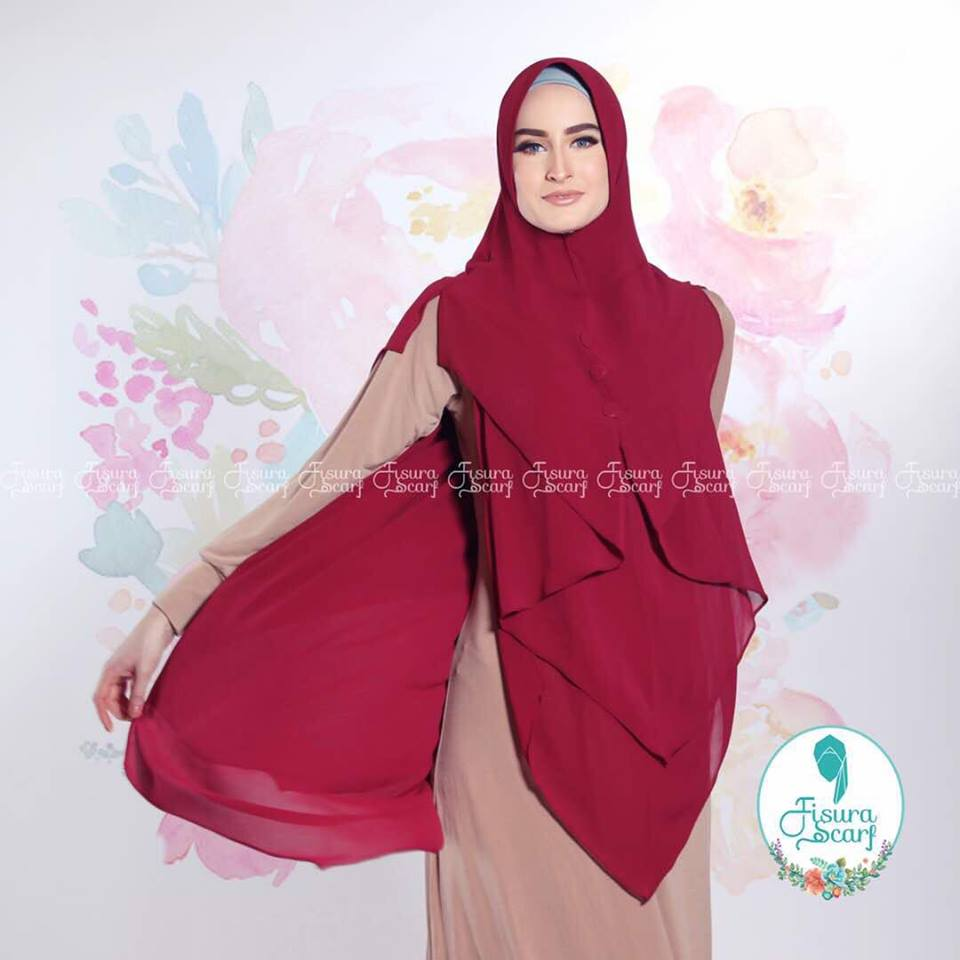 New Khimar Alona By Fisura Scarf merah
